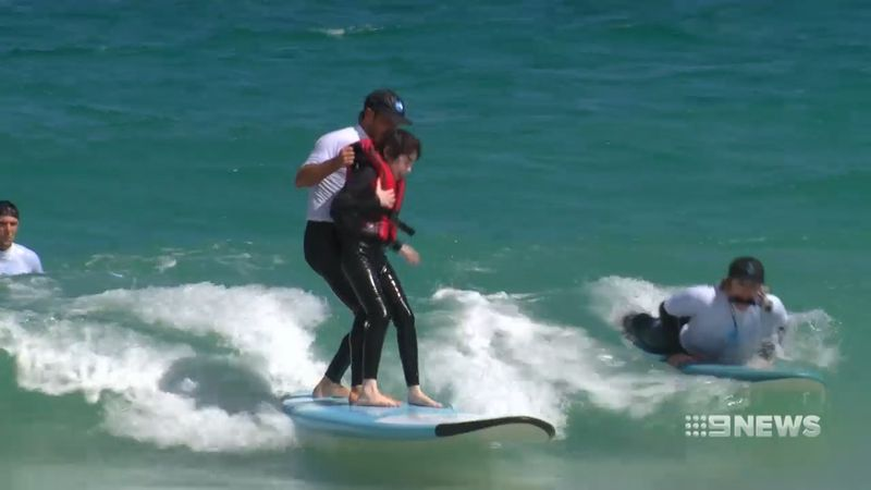 Surf's up! Students in the Ocean Heroes program. (9NEWS)