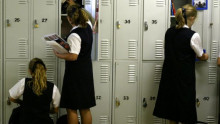 students at their lockers