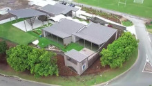 Arial view of a grey colour-bond school